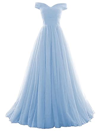 f6f659a6a3bb JINGDRESS Women Off Shoulder Beaded Prom Party Dresses Tulle Evening Dresses  Long A Line Ball Gowns