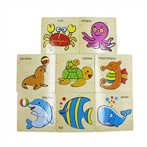Aimeio Wooden Puzzle Toys for Toddlers Set of 8 Sea Animals - Dolphins,Sea Lions,Crab,Hippocampus,Tortoise,Whale,Octopus and Fish Puzzle Jigsaw, Kids Boys Girls Early Education Toys Gifts,Age 3+ (Fish Big Jigsaw Wooden)