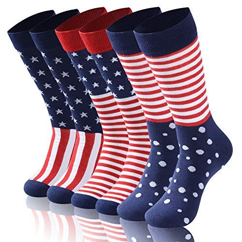 - American Flag Socks Men, TXXM Mens Fashion Socks Fun Dress Socks Wedding Groomsmen Dress Socks Men's Colorful Funny Novelty Crew Socks Pack,Art Socks, 6 pairs