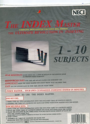 Index Master; 1-10 Subjects. Complete Index System for Three Ring Binders
