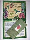 2018 Wings and Blossoms Hummingbird Calendar Towel & Drying Mat Bundle Hummingbird Kitchen Linen Calendar Towel and Green Dish Drying Mat 3 Piece Bundle