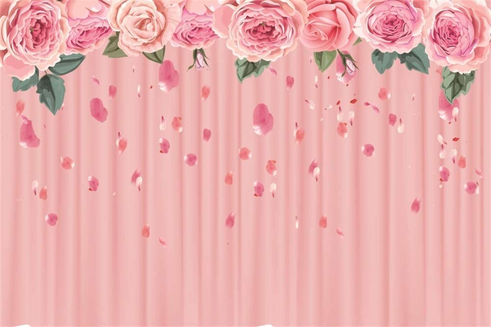 8x6.5ft Vinyl Backdrop Girls Birthday Party Photography Background Cute Rabbit Image Pink Flowers Pink Bunny Ears Paper Flowers Planks Background Girls Birthday Party Portrait Photo Studio
