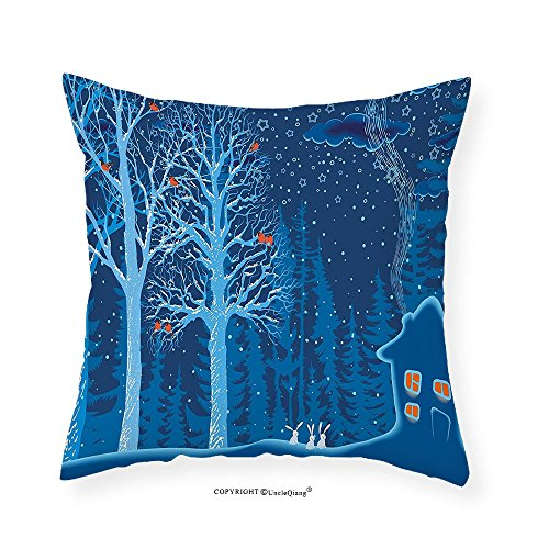 VROSELV Custom Cotton Linen Pillowcase Forest Winter Landscape with Show Covered Country House Hut in Trees Rural Picture for Bedroom Living Room Dorm Red Dark Sky Blue - African Pictures Hut