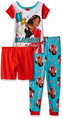 Disney Girls' Elena of Avalor 3-Piece Pajama Set, Coral, 4
