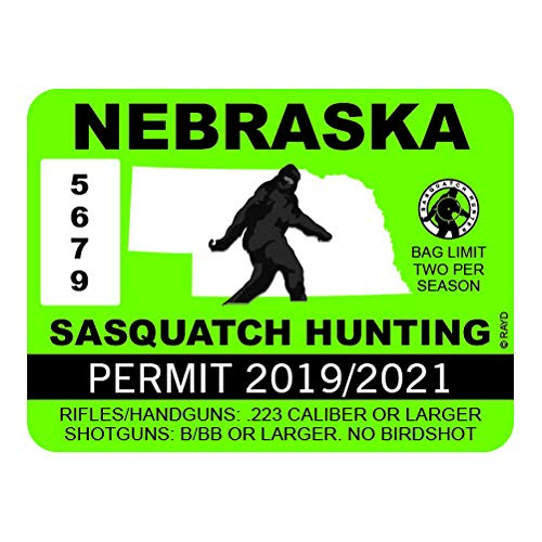 "RDW Nebraska Sasquatch Hunting Permit - Color Sticker - Decal - Die Cut - Size: 4.00"" x 3.00"""