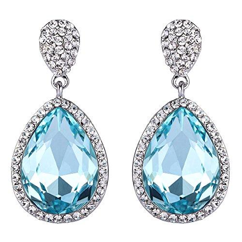 - FANZE Women's Silver-Tone Austrian Crystal Delicate Double Teardrop Wedding Bridal Pierced Dangle Earrings Sku Blue