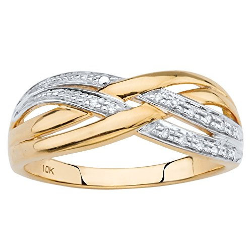 White Diamond Accent Solid 10k Yellow Gold Crossover Ring