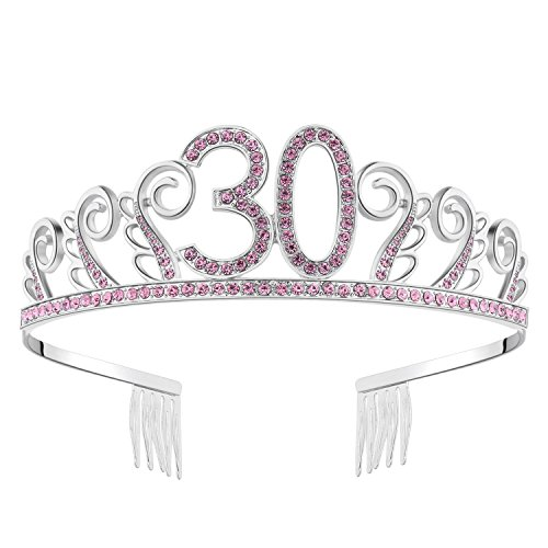 BABEYOND Crystal Birthday Tiara Rhinestone Princess Crown Happy Birthday Crowns Silver Diamante Happy 30th Birthday Tiara Crown (Pink-30th) ()