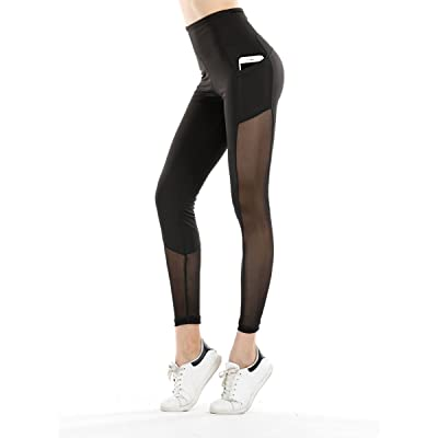 Stjubileens ST. Jubileens Women's Mesh Yoga Pants High Waist Tummy Control Workout Running Leggings With Side Pocket