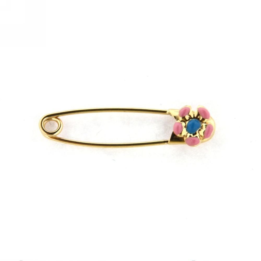 18K YG Safety Pin with Pink and Blue Flower (29mm X 5mm)