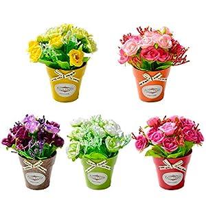 Artificial Flower Rose - Artificial Rose Flowers Silk Bouquet Flower With Plastic Vase Bonsai Set Farmhouse Art Decoration - Artificial Dried Flowers 34
