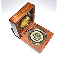 Twin Star Enterprises Antique Nautical Brass Desk Clock with Compass in Rose Wood Box