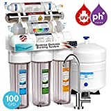 home drinking water filtration Express Water 11 Stage UV Ultraviolet Alkaline Reverse Osmosis Home Drinking Water Filtration System 100 GPD Modern Faucet Clear Housing