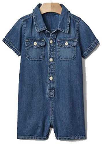 Baby Gap Boys Blue Denim Shortie Romper 3-6 Months