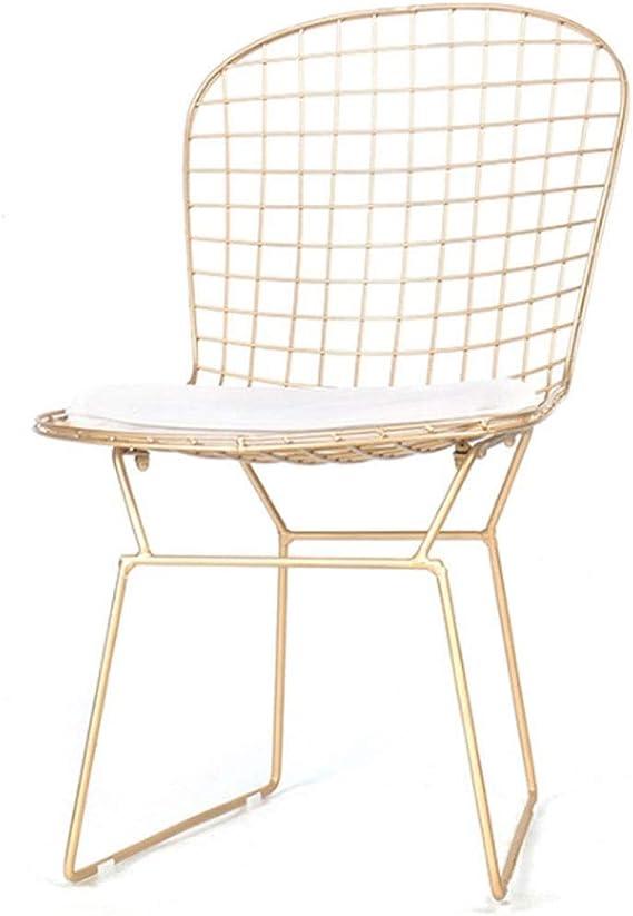 KY Taburete de Bar Bar Europea Sillas Hueco Wire Chair Cafe Milk Tea Shop Silla de Comedor Silla de Oro Estudio de la Silla de salón: Amazon.es: Jardín