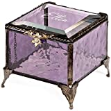 J Devlin Amethyst Engraved Glass Personalized Jewelry Box Purple Deal