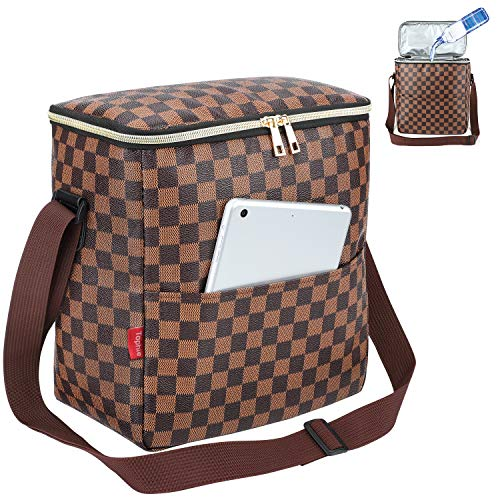 Lunch Bags For Women and Man,Insulated Lunch Box Cooler Bag with Adjustable Shoulder Strap, Water-resistant Thermal PU Soft leather Lunch Shoulder Bag for Work/Picnic/Beach/Hiking(Checked Pattern) ()