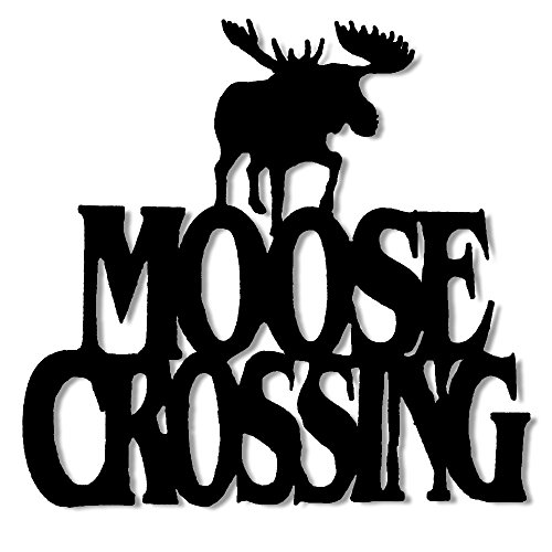 (Wall Word Art Decorative Wood Sign for Pet, Dog, Cat, Horse, Pig, Animal Lovers with Fun Sayings and Quotes (Moose Crossing) )