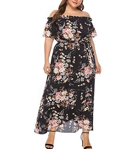 Eternatastic Womens Floral Printed Off-Shoulder Dress Plus Size Long Dresses 4XL -