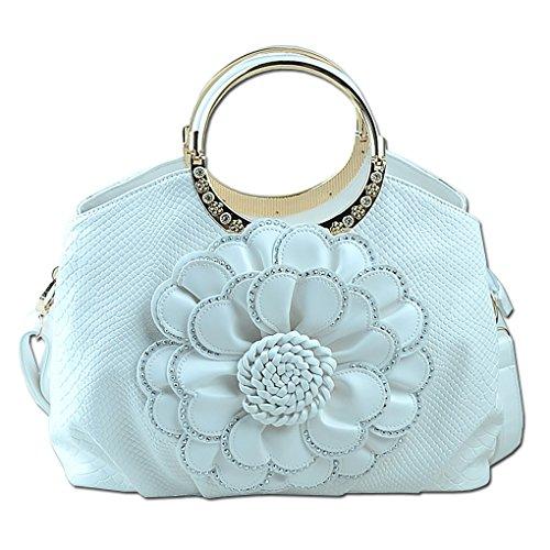 Crossbody Leather Girls White Handbags Womens Ladies Shopper Shoulder Pu Elegant Tote Messenger Kaxidy Bags Flowers Chic zFwHx0g