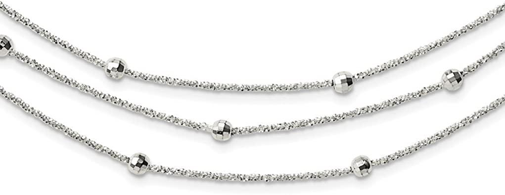925 Sterling Silver Polished Beaded Adjustable Necklace 24 Inch Jewelry Gifts for Women