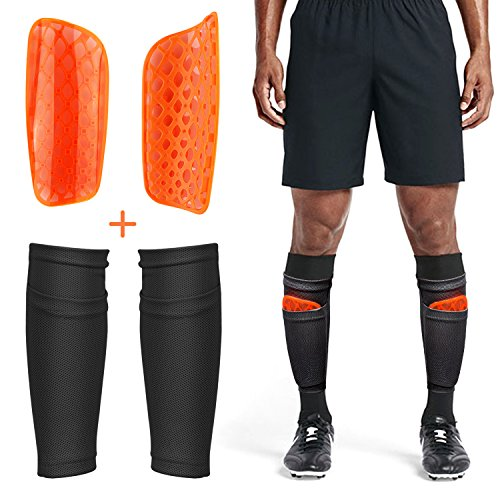 Adult Youth Kids Soccer Shin Guards with Compression Calf Sleeves - 1 Pair Shin Pads + 1 Pair Calf Sleeves Lightweight Breathable Leg/Calf Protective Guards Soccer Equipment for Boys Girls