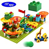 Marble Run Building Blocks, 137 PCS Classic Big Building Blocks STEM Toy Bricks Set Kids Race Track Compatible with All Major Brands Bulk Bricks Set for Boys Girls Toddler Age 3,4,5,6,7,8+