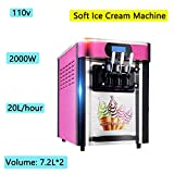 Zinnor Ice Cream Machines, Commercial Soft Ice Cream Machine, Soft Ice Cream Maker, 110V 20L/Hour Ice Cream Maker Machine with Three Flavor