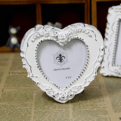 AMHOME Picture Frame 3x3 Heart Resin and Wood Frame Creativity Design