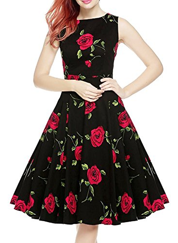 IHOT Vintage 1950's Floral Spring Garden Party Picnic Dress Party Cocktail Dress for Women Rose Floral Medium (Rose Dress Floral)