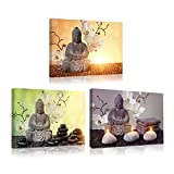 Kreative Arts - Modern Buddha In Meditation Artwork Canvas Prints Buddhist Statue in Zen Garden Pictures Paintings Wall Art for Office and Home Wall Decor 12x16inchx3pcs