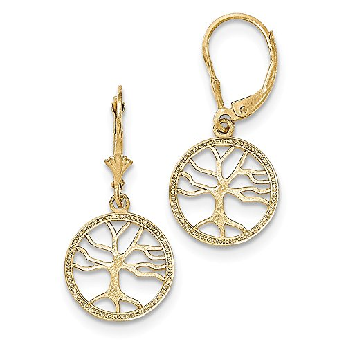 Jewelry Best Seller 14K Gold Polished Tree of Life in Round Frame Leverback Earrings by Jewelry Brothers Earrings