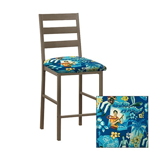 "1 - Solid Metal 24"" Tall Cocoa Brown Dining/Bar Stool Featuring the Choice of Your Favorite Novelty Theme Fabric Covered Seat Cushion (Elvis Blue Hawaii) by The Furniture Cove"