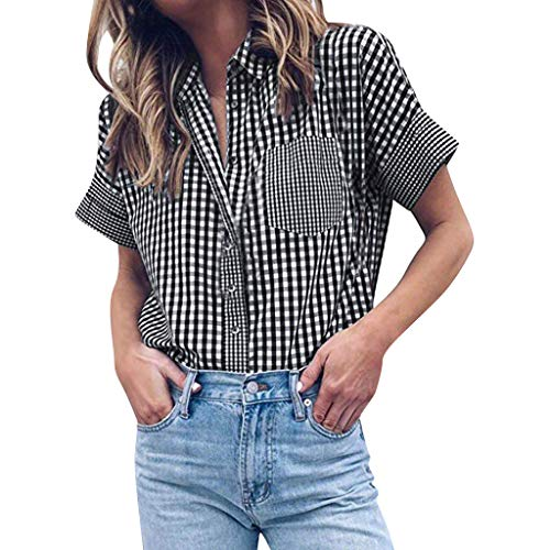 Onefa Women Button Plaid Shirt Summer T-Shirt Short Sleeve Casual Tops Blouse with Pocket Top to Hold Sunglass ()