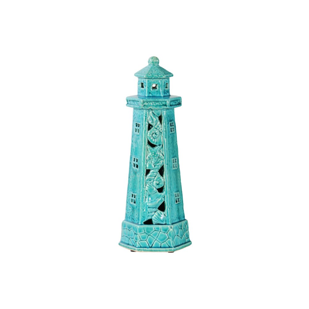Benzara BM132272 Lighthouse Figurine with Cutout & Seashell - Blue - 5 x 5 x 13 in. B074QKMDY7