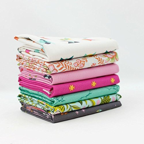 Tula Fat Quarter (Spirit Animal - Starlight Fat Quarter Bundle (7 pcs) - Tula Pink - Free Spirit 18 x 21 inches (45.72cm x 53.34cm) fabric cuts DIY quilt fabric)