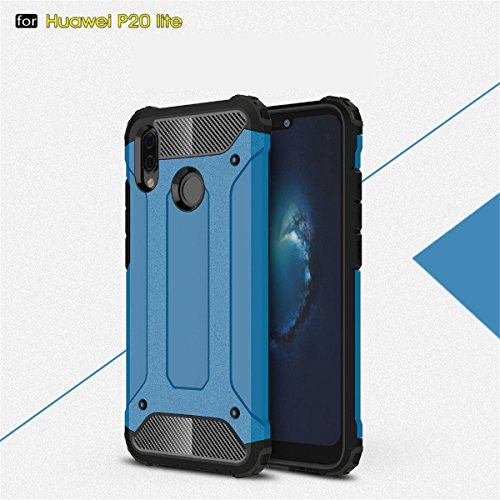 Back Coque Protection Hybride Armour Etui En Case Pour Cover Rose Anti huawei Huawei Lite Bumper 1 Tpu Rigide pc Bleu P20 Choc Or Housse 2 Lite vxzvrnPwTq