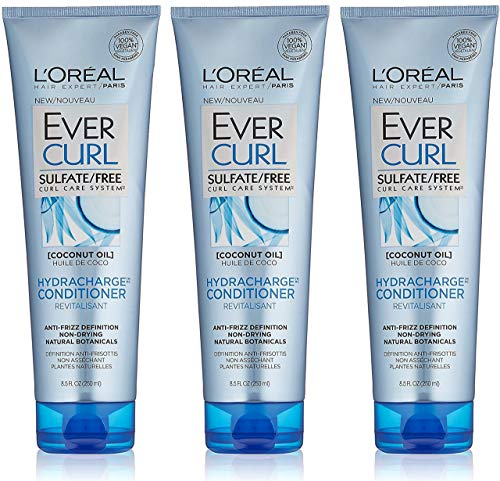 250ml Net (L'Oreal Hair Expert / Paris - EverCurl - Hydracharge Conditioner - With Coconut Oil - Net Wt. 8.5 FL OZ (250 mL) Per Tube - Pack of 3 Tubes)