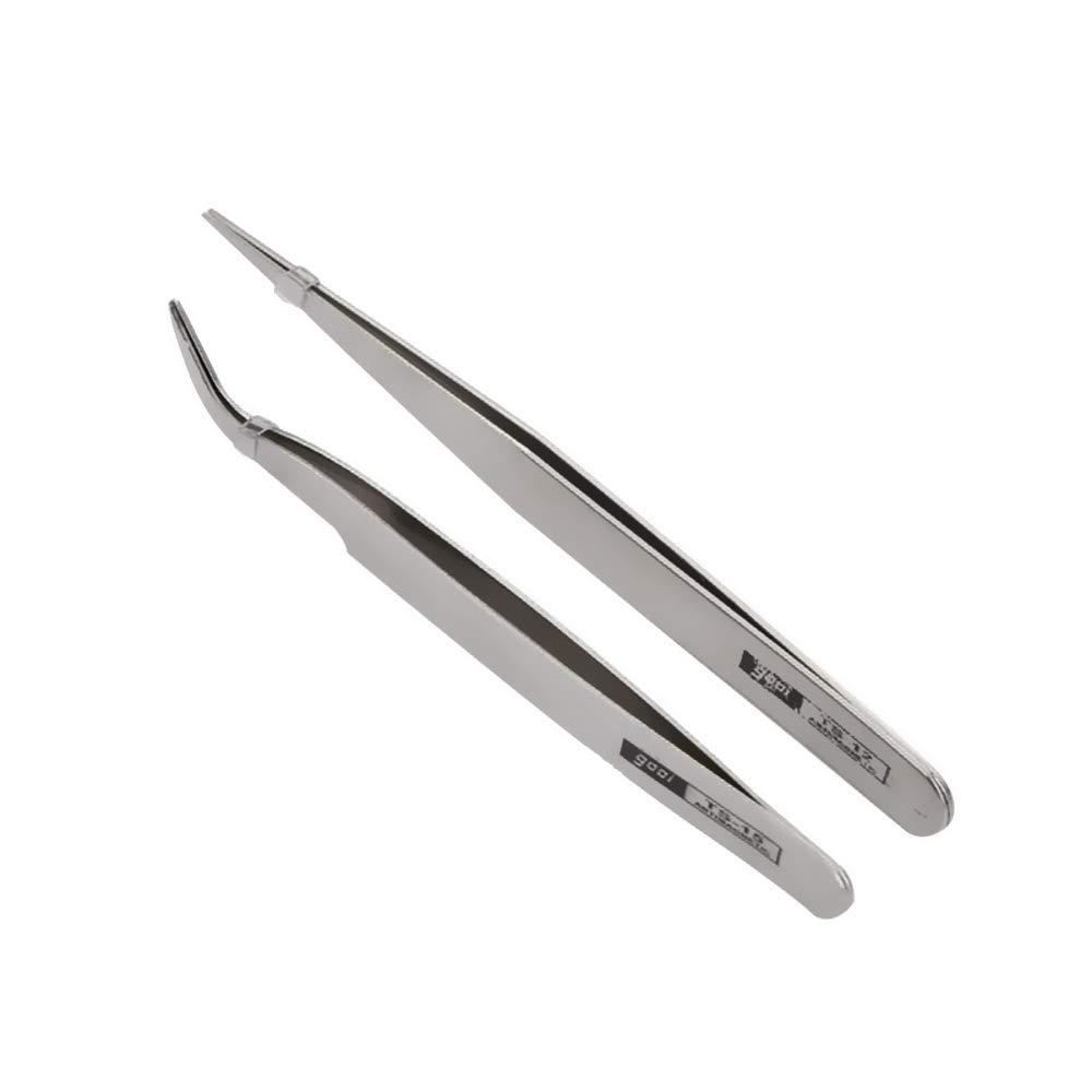 My-Bead 2 piezas Pinzas de precisi/ón acero inoxidable puntiagudas y con manivela para la fabricaci/ón de joyas en tejido de perlas DIY