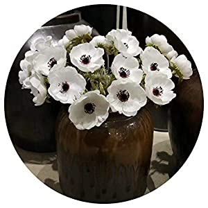 Artificial Fowers Artificial Anemone Flowers 12 Pieces/Lot Wedding Home Table Flower Party Decoration Boutonniere Bouquet Accessories 64
