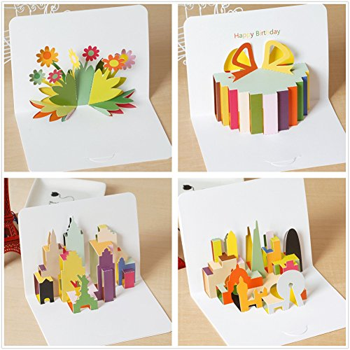 Holastar Pop Up Cards, 3D Card, Flower, Gift Box, London, New York, Urban City Birthday Card, Greeting Card for All Occasions (Pack of 4) -