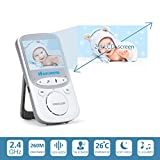 Yimaler Video Baby Monitor Wireless with Digital Camera Night Vision 2 Way Audio Temperature Monitoring Lullabies Long Range and High Capacity Battery for Security 2.4inch LCD Screen