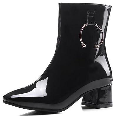 015b8489080e8 IDIFU Women's Unique Square Toe Patent Leather Side Zipper Mid Chunky Heels  Motor Ankle Boots (