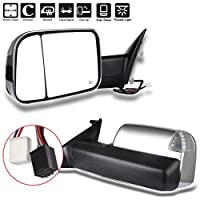 ECCPP Towing Mirror Replacement fit for 2010 Dodge RAM 1500 2500 3500 Pickup,2011 2012 2013 2014 2015 2016 2017 Dodge RAM 1500 2500 3500 Chrome Power Heated Puddle Signal Light Pair Mirrors