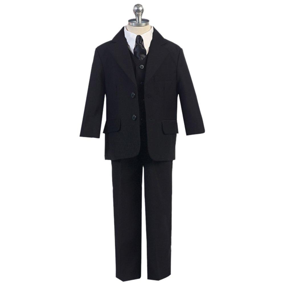 HBDesign Boys'3 Piece 2 Button Peak Lapel Slim Trim Fit Boy Suit For Wedding