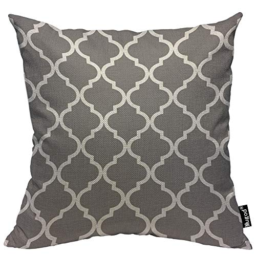 - Mugod Clover Throw Pillow Case Quatrefoil Moroccan Flower Lantern Shape Dark Grey and White Decorative Cotton Linen Square Cushion Covers Standard Pillowcase Couch Sofa Bed Men/Women 18x18 Inch