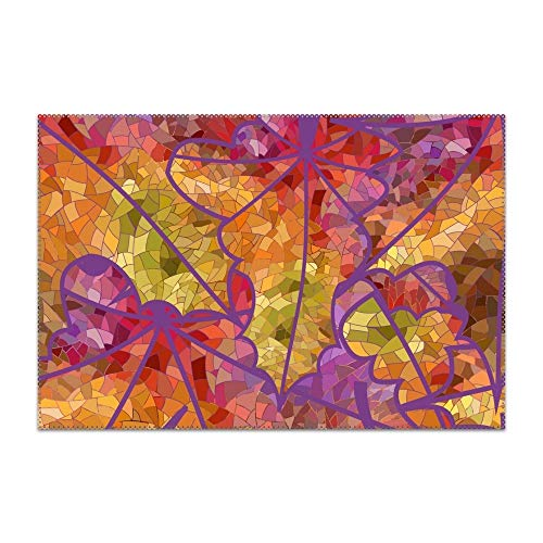 - iacafaf Placemats, Abstract of Mosaic Maple Leaves Table Mats,Placemat Non-Slip Washable Place Mats,Heat Resistant Kitchen Tablemats for Dining Table