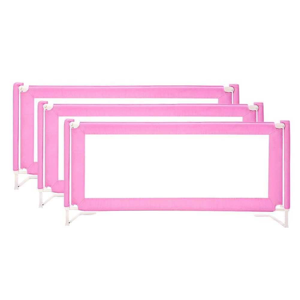 CQILONG ベッドレール万能保護チャイルドロック誤操作メタルスケルトン安定した快適な生地、3色 4サイズ (色 : ピンク, サイズ さいず : 180x150x75-90cm) 180x150x75-90cm ピンク B07S9F5933