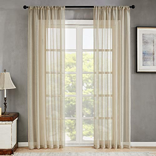 MRTREES Sheer Curtains Beige Living Room 95 inches Long Bedroom Semi Sheers Linen Textured Sliding Glass Door Voile Window Treatments 2 Panels Rod Pocket Light Filtering