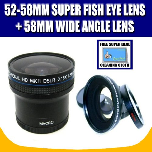 Zeikos ZE-1858F 52/58mm 0.18X Super Fisheye Lens and Zeikos ZE-WA58B 58mm Wide Angle Lens with Exclusive FREE Complimentary Super Deal Micro Fiber Lens Cleaning Cloth by Super Deal